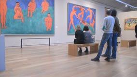 Saint-Petersburg. Russia. People in the hall of Henri Matisse stock video footage