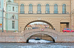 Saint-Petersburg. Russia. People on the Hermitage Bridge Royalty Free Stock Photography