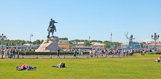 Saint-Petersburg. Russia. People near the Bronze Horseman Stock Photos