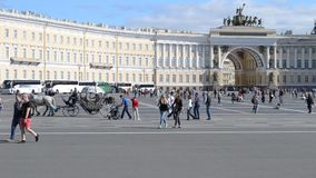 Saint-Petersburg. Russia. People on The Palace Square stock video footage