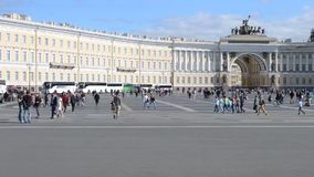 Saint-Petersburg. Russia. People on The Palace Square stock footage