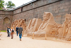 Saint-Petersburg. Russia. People on The Sand Festival Royalty Free Stock Photo