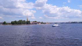 Pleasure boat on the background of Peter and Paul Fortress stock video footage