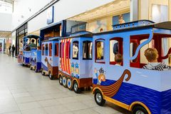 Saint-Petersburg. RUSSIA. 06.10.2018 ride on a kiddie train. At the Mall Royalty Free Stock Images