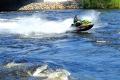 Saint-Petersburg. RUSSIA. 05.17.2018. River jet skis. Young people have great speed. royalty free stock photo