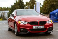 Car BMW 3-series, German Bavarian manufacturer. Saint-Petersburg, Russia - September 16, 2017: Car BMW 3-series, new model and 2017 release year. Road speed car stock images