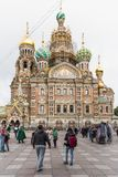 Church of the Savior on Spilled Blood. Saint Petersburg, Russia - September 17, 2017: Church of the Savior on Spilled Blood with cloudy sky, attractions place Royalty Free Stock Photo
