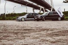 Old car of premium class Mercedes-Benz sedan. Saint-Petersburg, Russia - September 30, 2017: Old legendary car of premium class Mercedes-Benz sedan at meeting of Royalty Free Stock Image