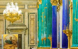 Ornate interior, malachite and lapis columns in the Saint Isaac's Russian Orthodox Cathedral in Saint Petersburg, Russia. Saint Petersburg, Russia - September 10 royalty free stock images