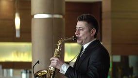 SAINT-PETERSBURG, RUSSIA - SEPTEMBER 17, 2017: Saxophonist stock video
