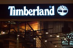 Saint Petersburg, Russia - September 07, 2018: Shop Timberland in the Mall. Company logo stock photo
