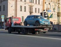 Saint Petersburg Russia Septembert 12, 2016: the wrecker carries the car stock photo