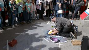 Saint-Petersburg. Russia. Street painter near Griboyedov Channel stock video