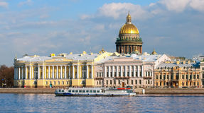 Saint-Petersburg. Russia. Tourist boat on The Neva River Royalty Free Stock Photos