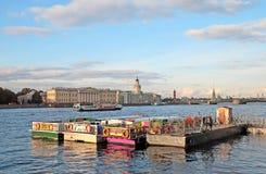 Saint-Petersburg. Russia. Tourist boats on the Neva River Stock Photos