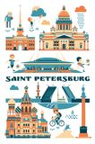 Saint-Petersburg, Russia. Vector illustration of city sights. Flat style Royalty Free Stock Photos