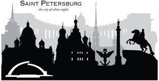 Saint Petersburg, Russia. Vector illustration of the skyline cityscape of Saint Petersburg, Russia stock illustration