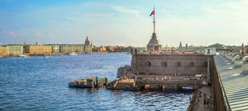 Saint-Petersburg, Russia. View of the water area of the Neva, the pier and Naryshkin bastion of the Peter and Paul Fortress. Stock Photos