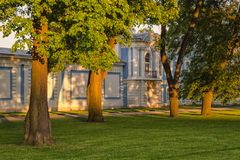The walls of Smolny cathedral under sunset light. Saint Petersburg, Russia. The walls of Smolny cathedral under sunset light stock photo
