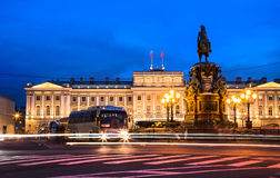 Saint Petersburg's square at night Royalty Free Stock Image