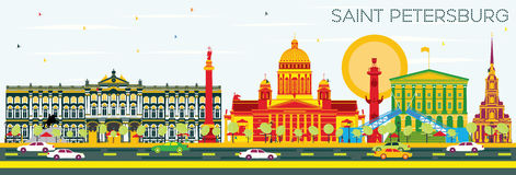 Saint Petersburg Skyline with Color Buildings and Blue Sky. Vector Illustration. Business Travel and Tourism Concept. Image for Presentation Banner Placard and Royalty Free Stock Image