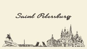 Saint Petersburg skyline, Russia vector city drawn. Saint Petersburg skyline, Russia, vintage engraved illustration, hand drawn vector illustration