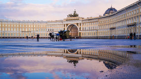 Saint-Petersburg. Summer 2016. Carriage horses at the Palace square. Stock Image