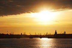 Saint Petersburg at sunset. Neva River in Saint Petersburg at sunset Royalty Free Stock Images
