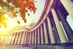Saint Petersburg at sunset, framed by autumn leaves Stock Photo
