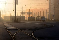 Saint-Petersburg tram. Two trams are in the parking lot Royalty Free Stock Photo