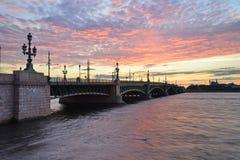 Saint Petersburg,Trinity, bridge, Royalty Free Stock Images