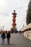 Saint-Petersburg, Vasilievsky island, Russia - 09 MAI, 2014: View one of the two Rostral colon in Leningrad Royalty Free Stock Photo