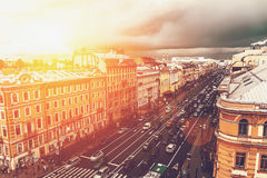 Saint Petersburg, view to Nevsky prospect from roof top. Big city urban downtown concept. Toned with sunlight effect Stock Images