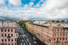 Saint Petersburg, view to Nevsky Prospect from roof top, downtown, old town of St.Petersburg Royalty Free Stock Photography