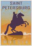 Saint Petersburg vintage poster. In orange and blue textured background with skyiline in white Stock Photo