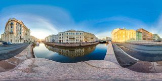 Saint-Petersburg - 2018: White nights. Blue sky. 3D spherical panorama with 360 viewing angle. Ready for virtual reality. Full equ. Irectangular projection royalty free stock photos