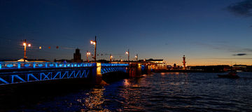 Saint-Petersburg during white nights - Dvortsovy bridge and Vasilevski Royalty Free Stock Images