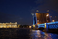 Saint-Petersburg during white nights - hermitage and Dvortsovy bridge Royalty Free Stock Image
