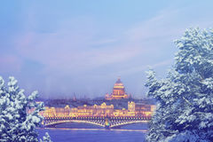 Saint Petersburg at winter evening. X-mas, New Year, Europe, Love and travel concept. Winter in Russia. Christmas background : Saint Petersburg at winter evening Royalty Free Stock Photo
