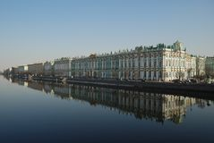 Saint-Petersburg. Winter Palace. Reflection of Hermitage Museum in Neva river. Saint-Petersburg Royalty Free Stock Photography