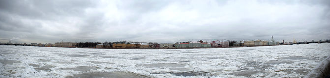 Saint Petersburg in winter panarama Stock Photos