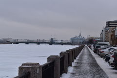 Saint Petersburg winter quay of Neva bridge stock photography