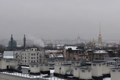 Saint Petersburg winter roof view of Petrogradskaya side Royalty Free Stock Photography