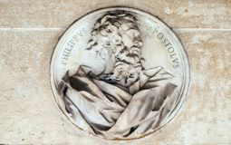 Saint Philip the Apostle. Bass relief in portico of church dei Santi XII Apostoli in Rome, Italy Royalty Free Stock Photography