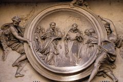Saint Philip Benizi refuses the papal tiara. San Marcello al Corso church in Rome, Italy Stock Images