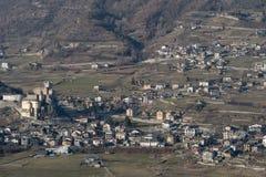 Saint-Pierre hillside neighbourhood, Aosta Valley region, Italy. Elevated view of Saint-Pierre hillside neighbourhood, Aosta Valley region, Italy Stock Images