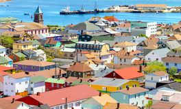 Houses full of colours at Saint-Pierre Island Royalty Free Stock Photography