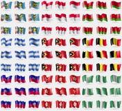 Saint Pierre and Miquelon, Monaco, Belarus, Nicaragua, East Timor,  Belgium, Haiti, Hong Kong, Nigeria. Big set of 81 flags. Royalty Free Stock Photos