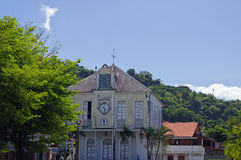 Saint Pierre town, Martinique island, French, Lesser Antilles. SAINT PIERRE, MARTINIQUE, JUNUARY 2 : The central square of caribbean Saint Pierre town on January Stock Photo