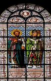 Saint Prosper and Saint Caesarius. Stained glass window in the Saint Augustine church in Paris, France stock images